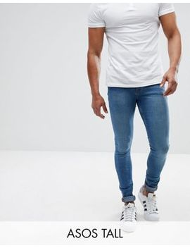 Asos Tall Extreme Super Skinny Jeans In Mid Blue by Asos Tall