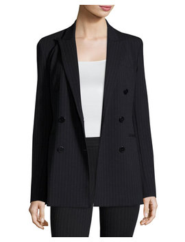 Pinstripe Knit Double Breasted Power Jacket, Navy by Theory