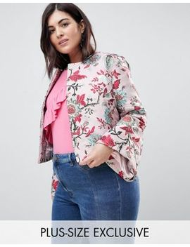 Dolly & Delicious Plus Allover Premium Embroidered Kimono Sleeve Cropped Jacket by Dolly Delicious