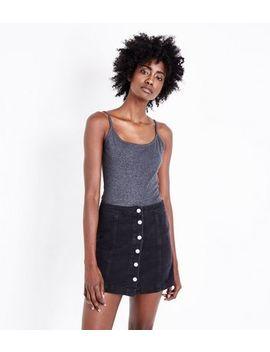 Dark Grey Shoestring Strap Cami by New Look
