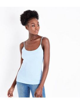 Pale Blue Shoestring Strap Cami by New Look