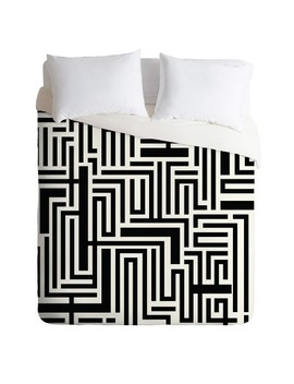Black & White Khristian A Howell Meander Duvet Cover   Deny Designs by Deny Designs