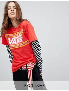 Vans – Exclusive – Doppellagiges T Shirt Mit Schachbrettmuster Am Ärmel by Vans