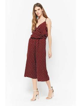 Crepe Polka Dot Jumpsuit by F21 Contemporary