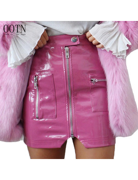 Ootn Leather Pencil Skirts Women Pink Button Front Zipper Mini Skirts Female 2018 Autumn Winter Fashion Sexy Party Wear Short by Ootn Store