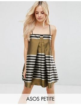 Asos Petite Jacquard Stripe Cami Mini Trapeze Dress by Asos Petite