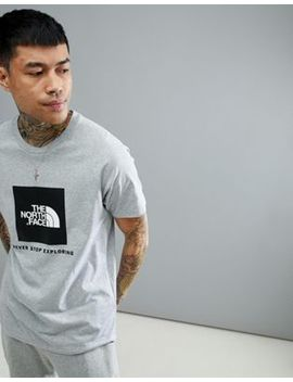 The North Face Raglan Red Box T Shirt In Light Grey Heather by The North Face