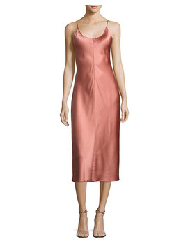 Sleeveless Satin Slip Dress W/ Threadwork, Pink by Neiman Marcus