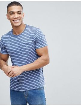 Polo Ralph Lauren Stripe Pocket T Shirt With Polo Player In Blue And White by Polo Ralph Lauren