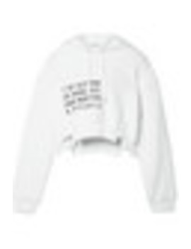 Fleece Paneled Printed Cotton Jersey Hooded Top by T By Alexander Wang