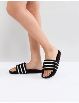 Adidas Originals Adilette Furry Slider Sandals In Black by Adidas