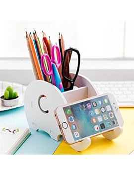 Cell Phone Stand, Coolbros Wood Elephant Pencil Holder With Phone Holder Desk Organizer Desktop Pen Pencil Mobile Phone Bracket Stand Storage Pot Holder Container Stationery Box Organizer (Elephant) by Coolbros