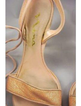 "Nina Pink Glitter Open Toe Leg Wrap Heel Sandals 7.5 M, 4.25"" High Heel by Nina"