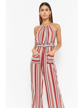 Striped Halter Jumpsuit by F21 Contemporary
