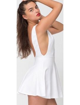 American Apparel Ponte Sleeveless Mini Skater Dress White Open Back Large by American Apparel