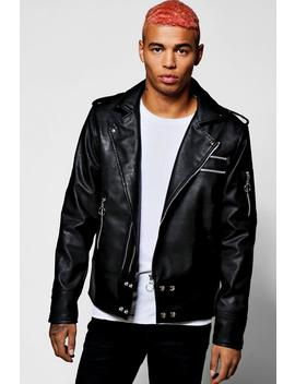 Black Faux Leather Regular Fit Biker Jacket by Boohoo