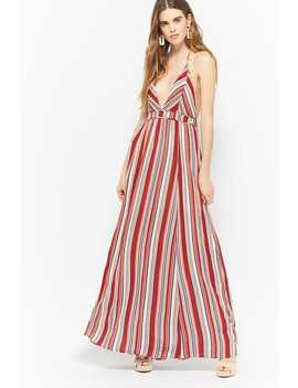 Striped Halter Maxi Dress by F21 Contemporary