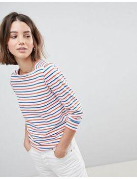 People Tree Organic Fairtrade Cotton Long Sleeve T Shirt In Breton Stripe by People Tree