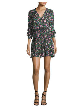 Naomi V Neck Long Sleeve Painted Floral Print Silk Dress by Veronica Beard
