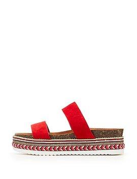 Bamboo Two Band Slide Platform Embellished Sandals by Charlotte Russe
