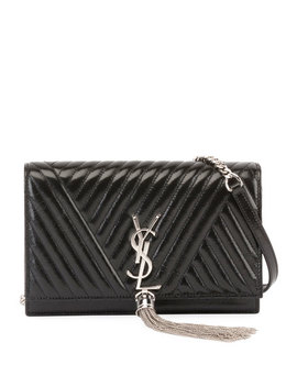 Kate Monogram Shiny Quilted Wallet On Chain by Saint Laurent
