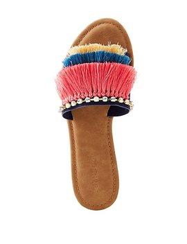Bamboo Fringe & Crystal Embellished Slide Sandals by Charlotte Russe