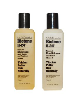 Mill Creek Botanicals Biotene H 24 Biotin And Keratin Shampoo And Condtiioner Bundle For Thinning Hair, Hair Loss And Receding Hair Line With Aloe Vera, Sage, Panthenol And Vitamin E, 8.5 Oz. Each by Mill Creek