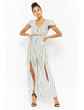 Striped Button Front Maxi Dress by Forever 21