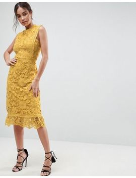Boohoo Bib Detail Lace Midi Dress by Boohoo