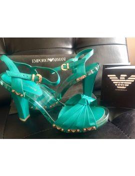 Emporio Armani Women Sandals Heels Shoes Sz 7.5 Coral Blue by Emporio Armani