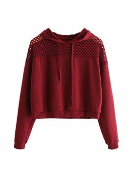 Anglewolf Fashion Ladies Hollow Out Shoulder Short Sweatshirt Jumper Sweater Crop Top Hooded Pullover by Anglewolf Sweatshirt