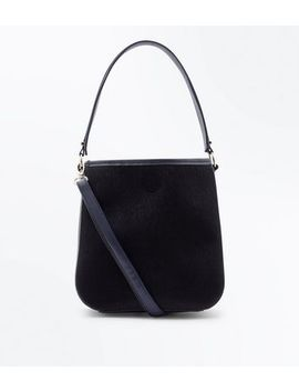 Black Faux Fur Bucket Bag by New Look