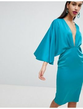 Asos Satin Cape Kimono Sleeve Deep Plunge Midi Dress by Asos Collection