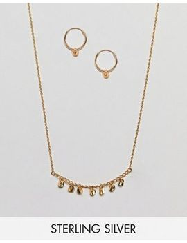 Asos Gold Plated Sterling Silver Gift Set With Disc Hoop Earrings & Chain Necklace by Asos Collection