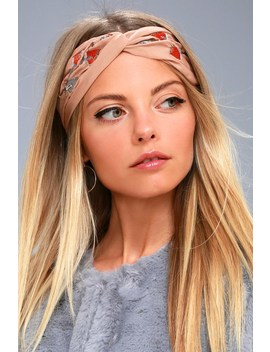 Nom De Bloom Light Brown Embroidered Headband by Lulus