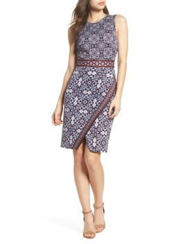 Printed Scissor Front Sleeveless Dress by Maggy London