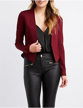 Open Front Collarless Blazer by Charlotte Russe