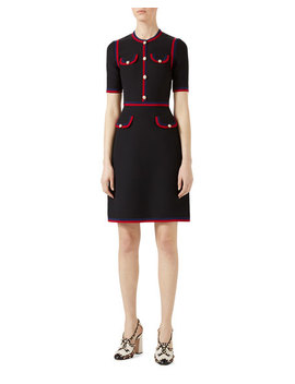 Wool Silk Dress With Web by Gucci