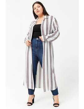 Plus Size Striped Duster Cardigan by Forever 21