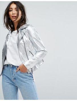 Vila High Shine Vinyl Leather Look Biker Jacket by Vila