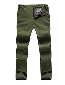 Men's Outdoor Windproof Waterproof Hiking Mountain Ski Pants, Soft Shell Fleece Lined Trousers#5088 by Jessie Kidden