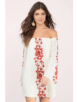 Boho Babe Cream & Rust Embroidery Shift Dress by Tobi