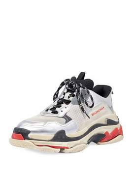 Triple S Mesh & Leather Sneaker by Balenciaga