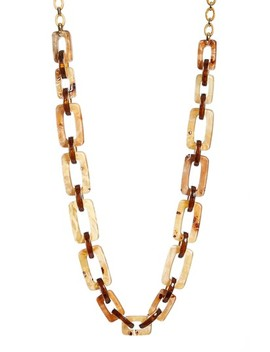 Wood Square Link Necklace by Lafayette 148 New York
