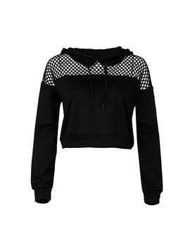 Harrystore Women Lattice Crop Top Long Sleeve Hoodie Sweatshirt Jumper Sweater Crop Lettuce Top Pullover Tops by Harrystore