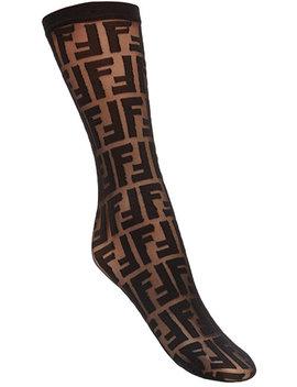 Logo Embroidered Socks by Fendi