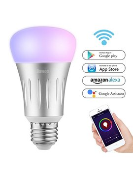 Smart Led Wifi Lamp Bulb, Bawoo 7 W 925 Lm E27 Dimmable Colour Lamps 16 Million Colours, Work With Amazon Alexa, Google Home, Smartphone Remote Control Via App, No Hub Required by Bawoo