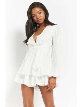 Grid Chiffon Ruffle Romper by Forever 21