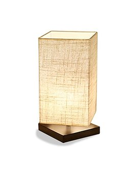 Zeefo Table Lamp, Bedside Desk Lamp, Solid Wood And Fabric Shade Light For Bedroom, Living Room, Baby Room (Square) by Zeefo