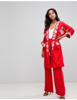 Millie Mackintosh Rose Embroidery Kimono Coat by Millie Mackintosh